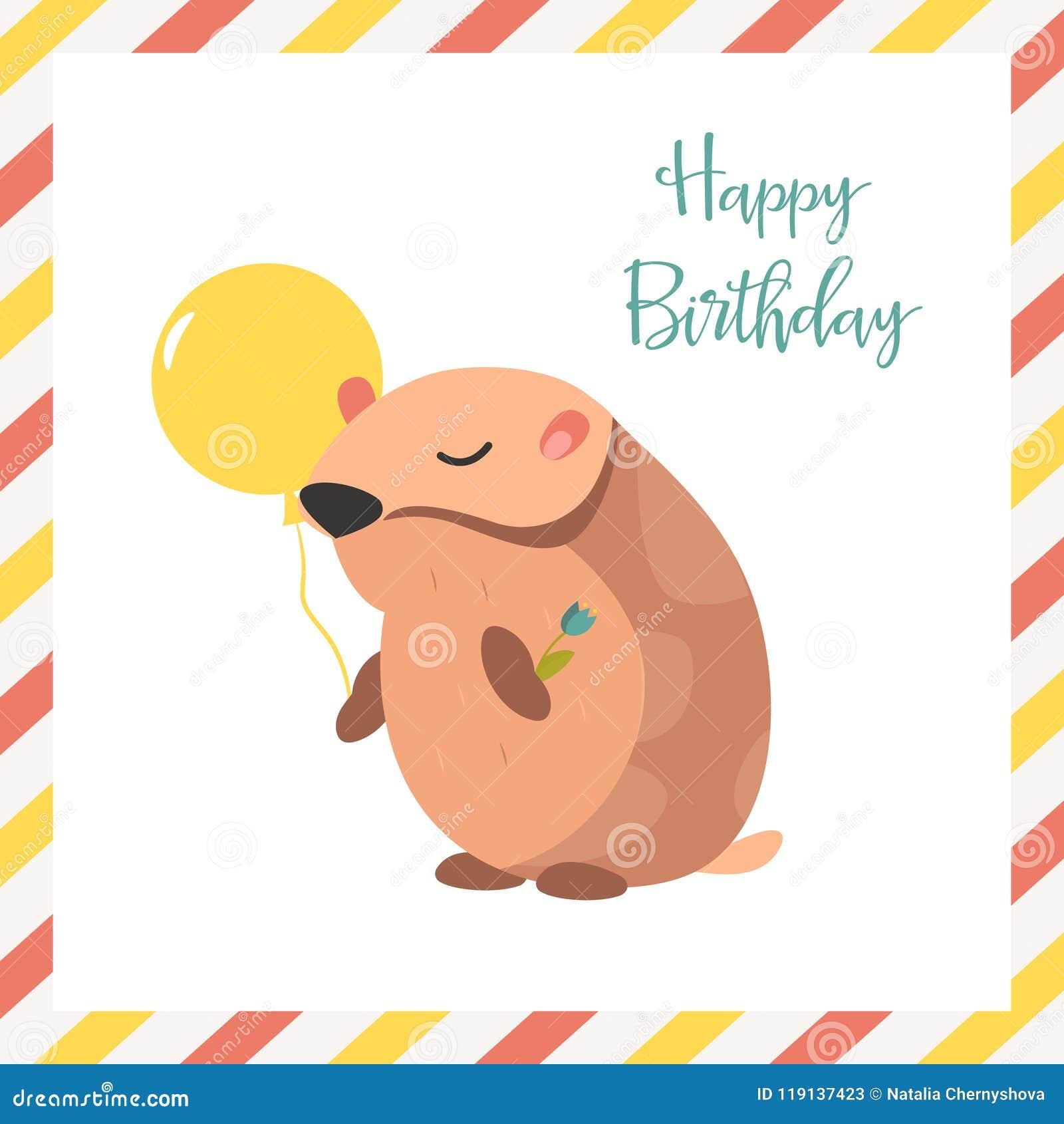 Verjaardagskaart Met Hamster En Ballon Vector Illustratie