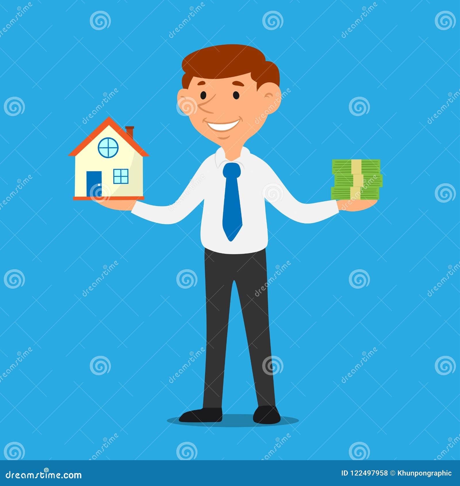 Verkäuferkarikatur, die Haus und Geld, Geschäftseigentumsdarlehens-Konzeptvektor hält