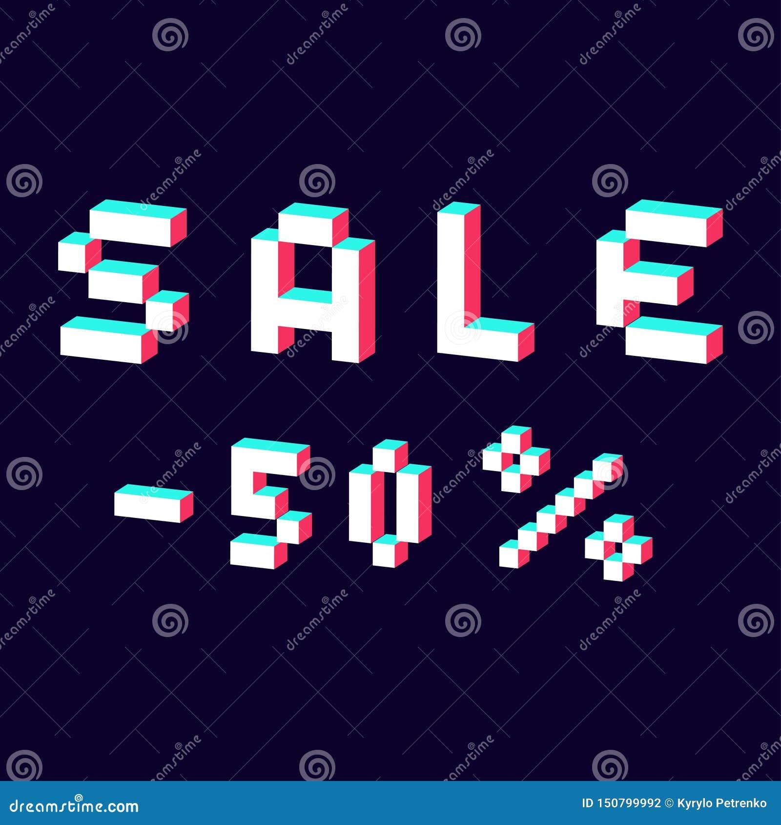 Verkauf gemacht mit digitalem Guss des Pixels 3d