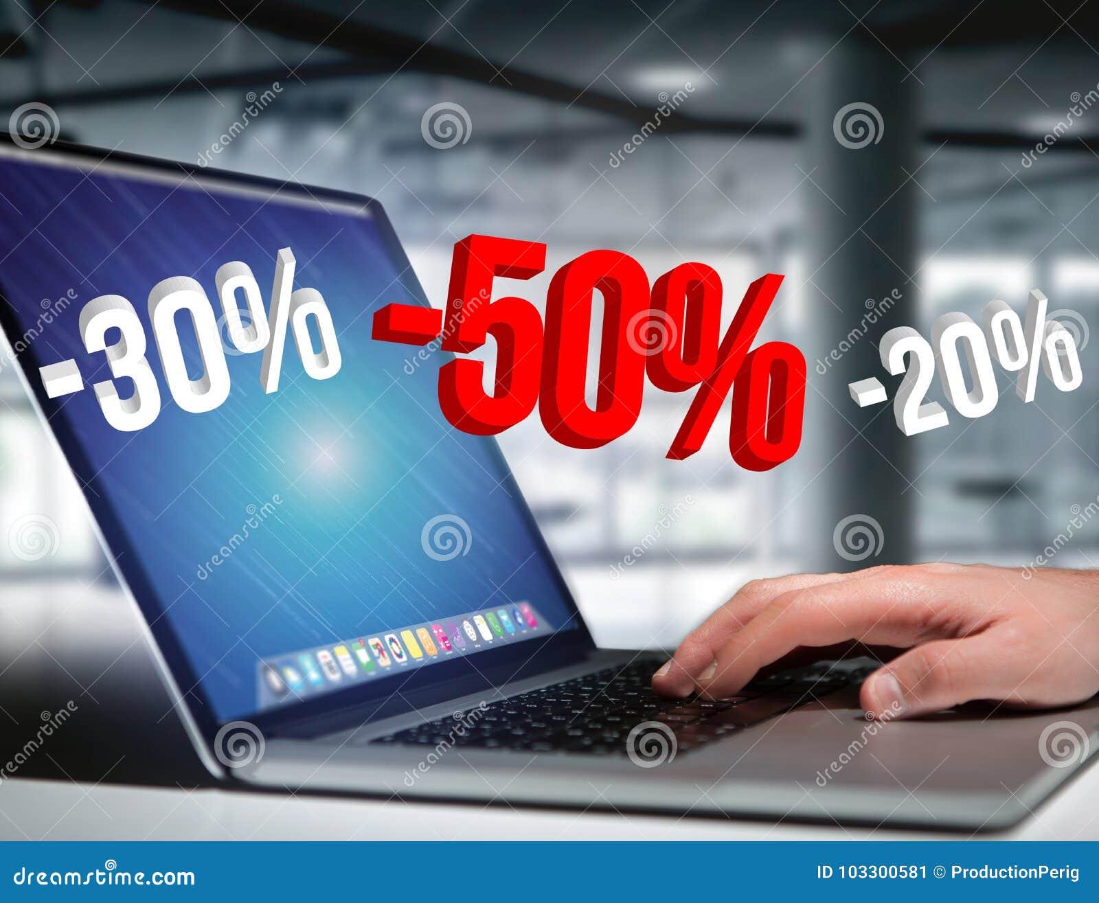 Verkaufsförderung 20  30  und 50 , das über eine Schnittstelle - Shopp fliegt