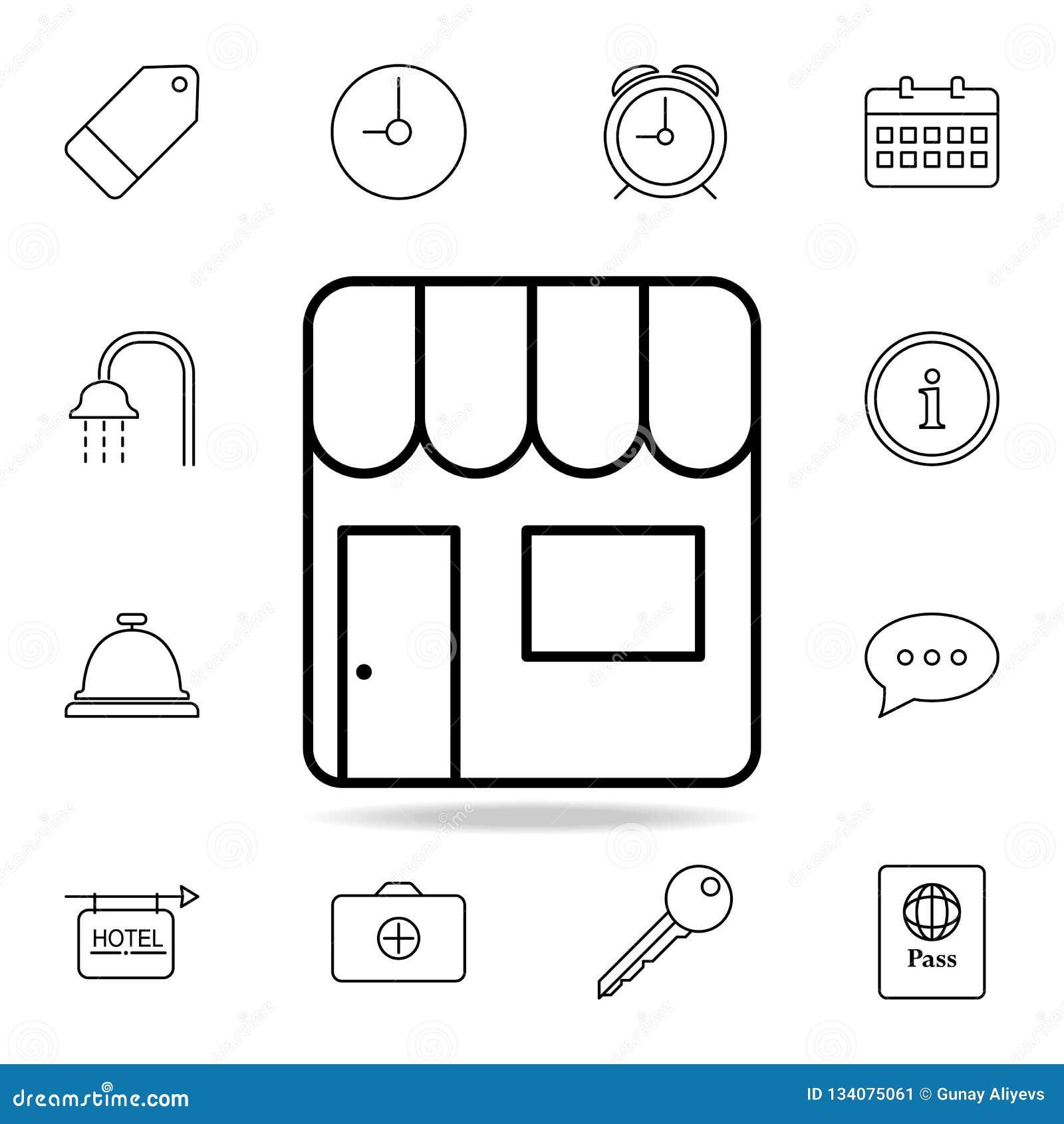 Verkaufsstallikone Element der einfachen Ikone für Website, Webdesign, bewegliche APP, Informationsgraphiken Dünne Linie Ikone fü