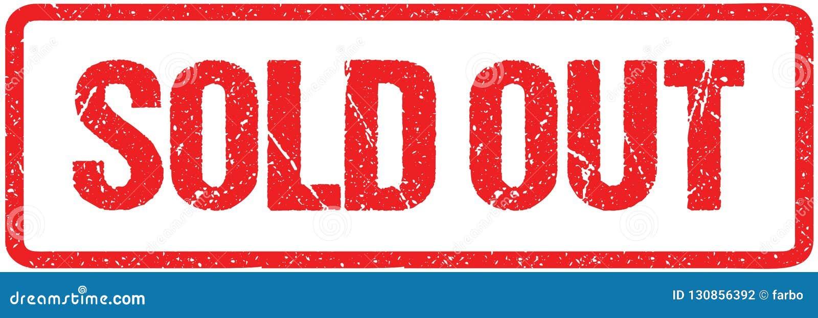 Verkauft aus den rauen Buchstaben unterzeichnen Sie Typografie lokalisiert auf Weiß Roter Tinten-Schmutz-Stempel