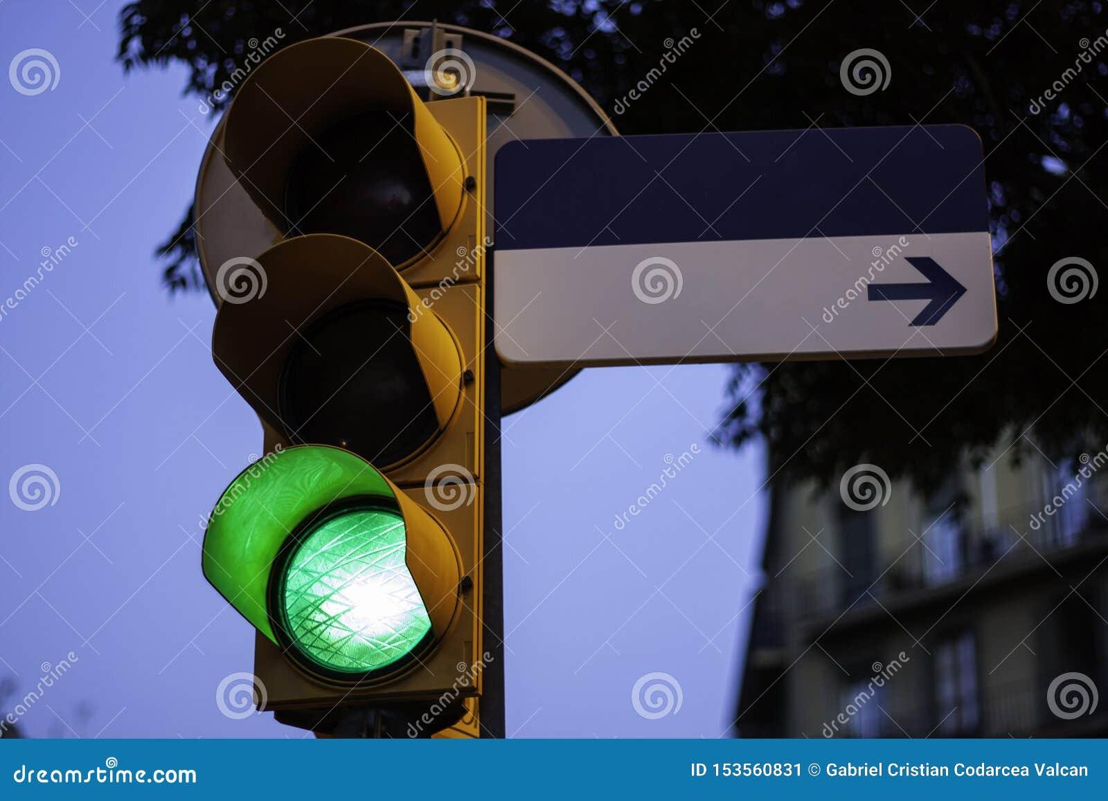 Verkeerslicht op groen met leeg straatteken voor exemplaarruimte