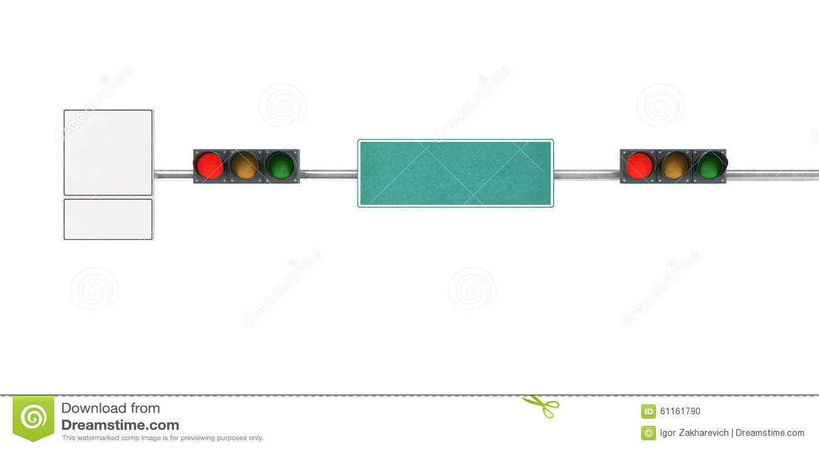 Verkeerslicht, rode lichten op een stadsstraat met verkeersteken
