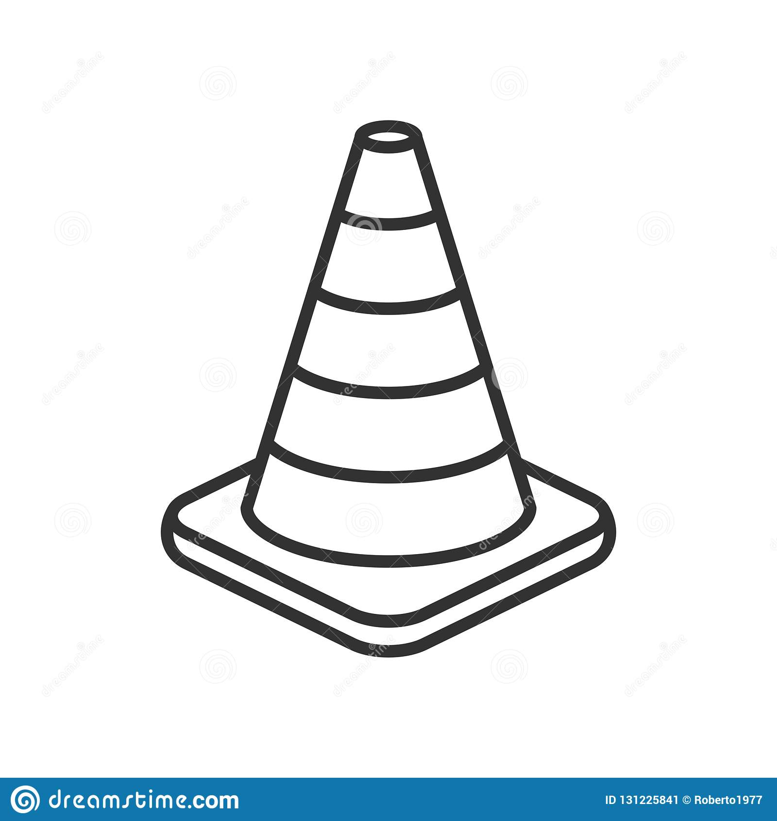 Verkehrs-Kegel-Entwurfs-flache Ikone auf Weiß