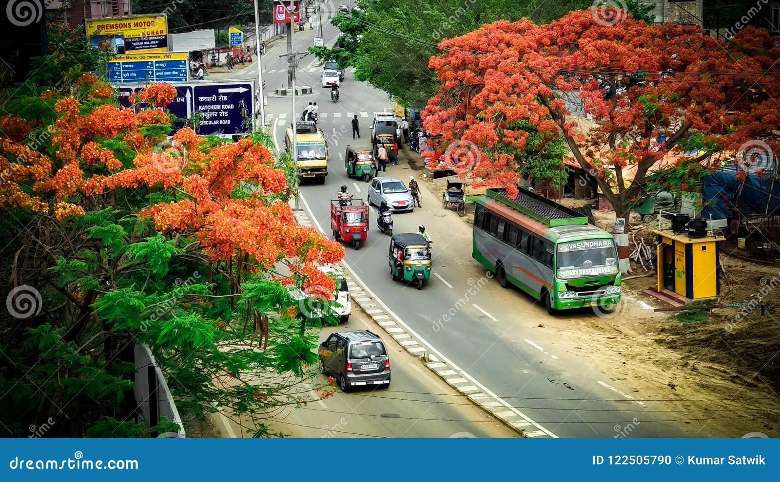 Verkehrsreiche Straße von Indien