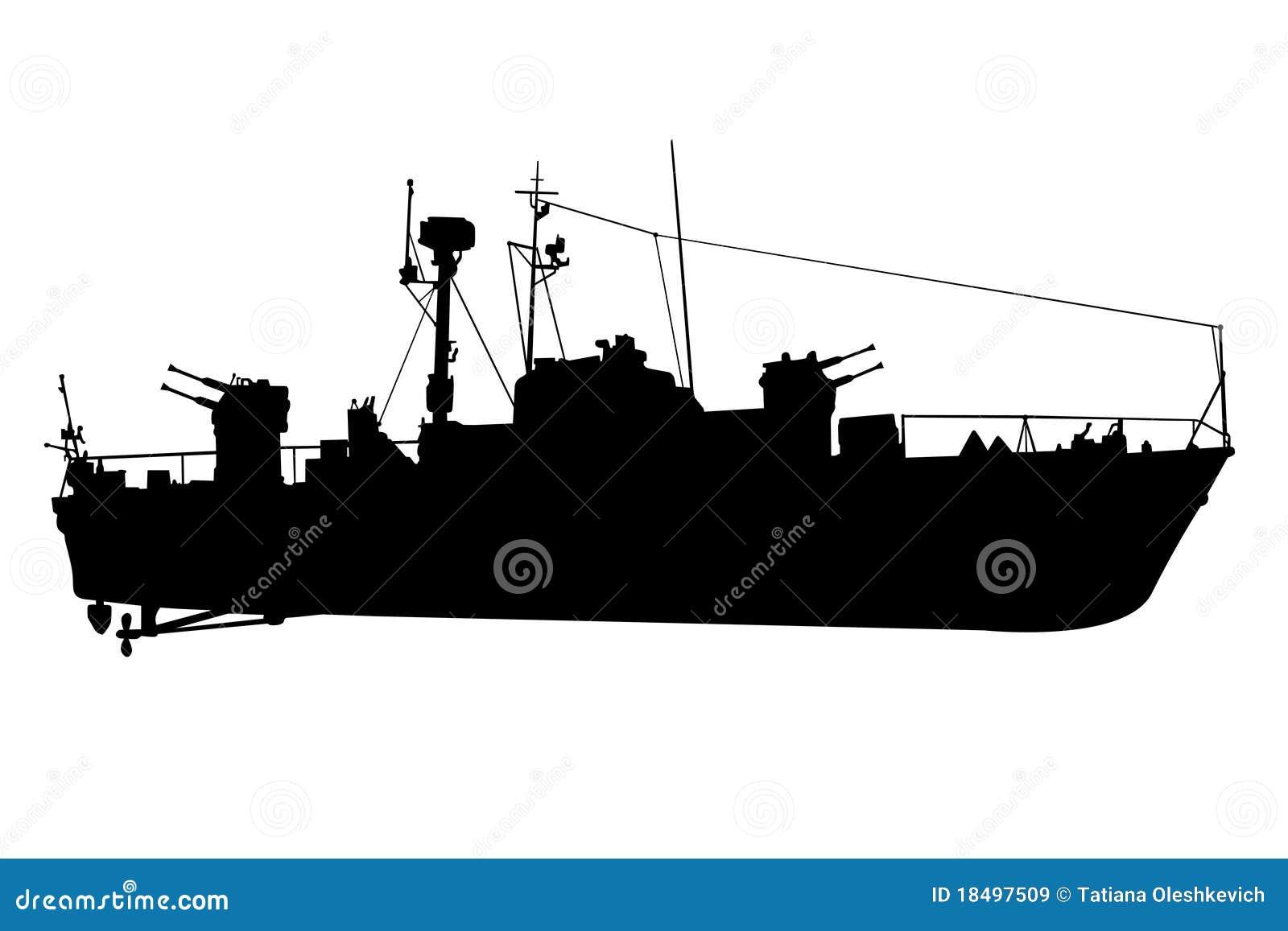 Verkenner-slagschip zwart silhouet