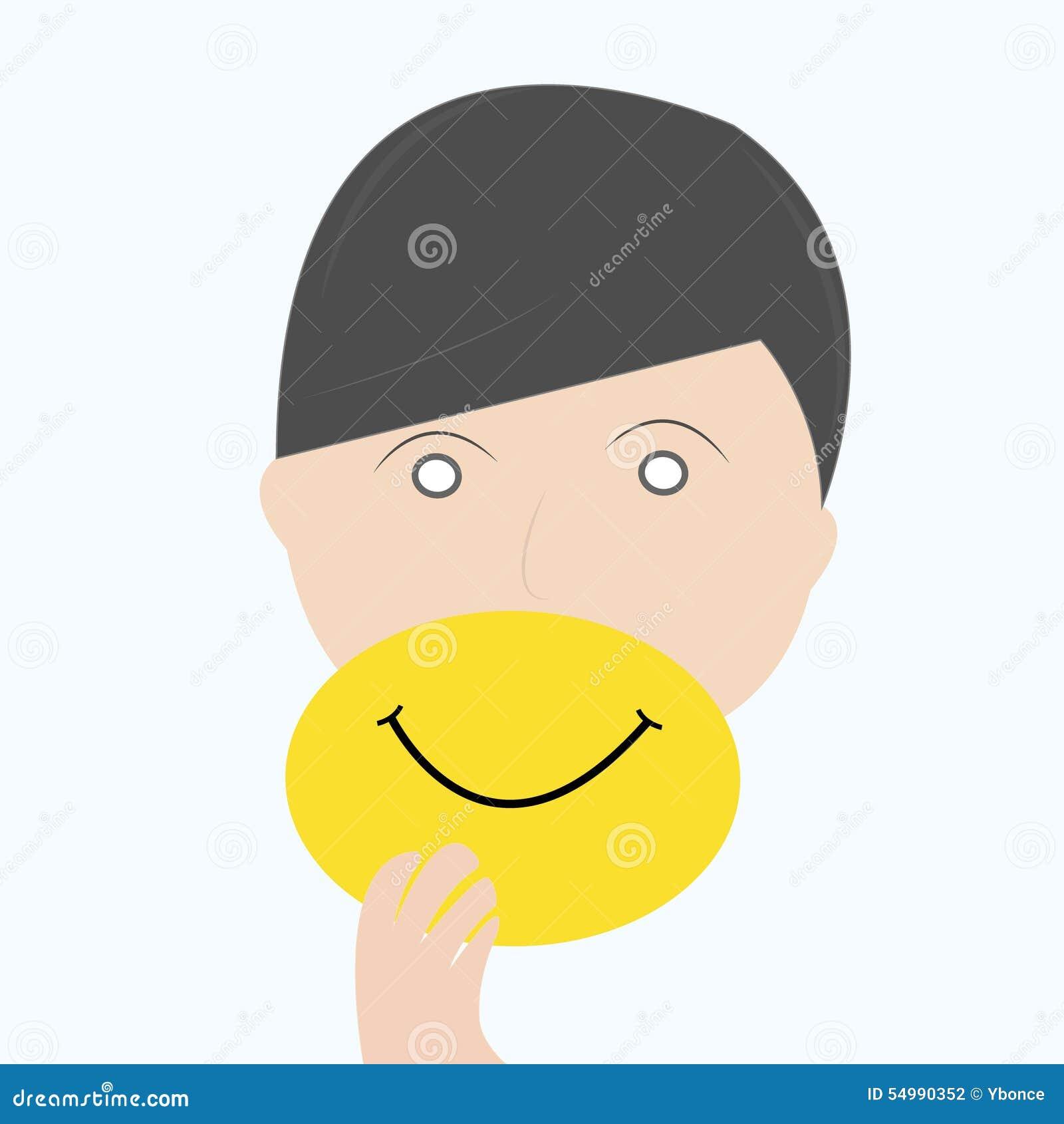 Verklig framsida för manskinn, genom att rymma leendemaskeringen