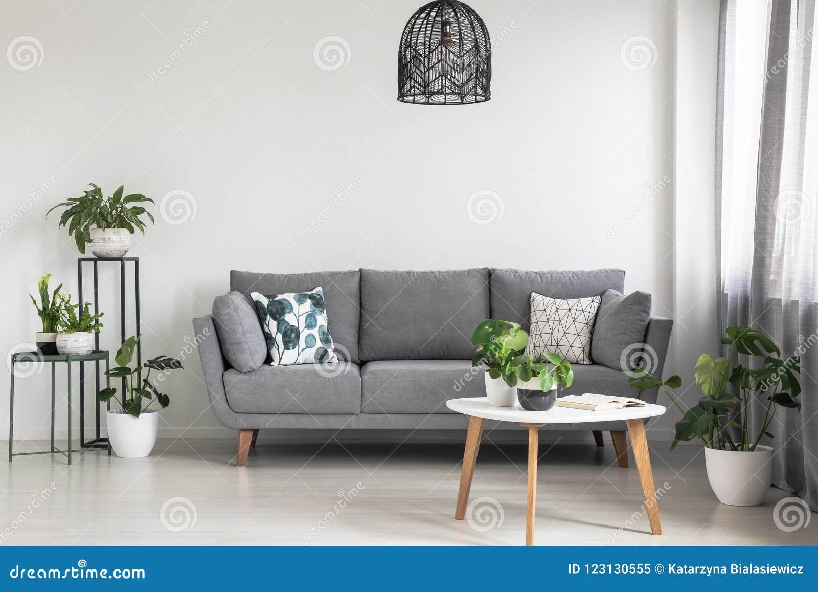 Verkligt foto av en enkel vardagsruminre med en grå soffa, växter och kaffetabellen