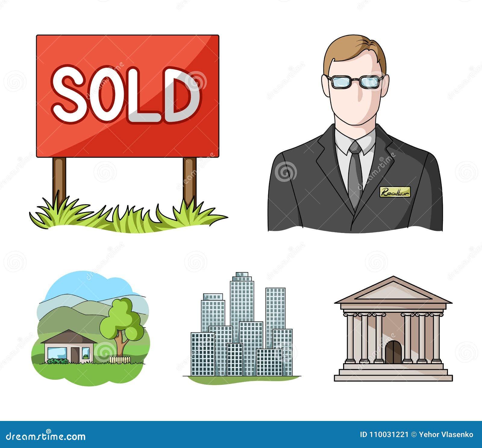Verkochte werknemer van het agentschap, metropool, buitenhuis Pictogrammen van de makelaar in onroerend goed de vastgestelde inza
