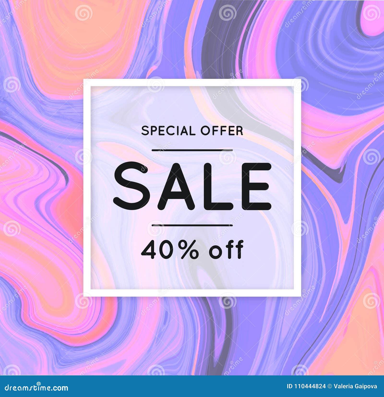 Verkoop marmering Marmeren textuur korting Vector abstracte kleurrijke achtergrond De plons van de verf Kleurrijke vloeistof Het