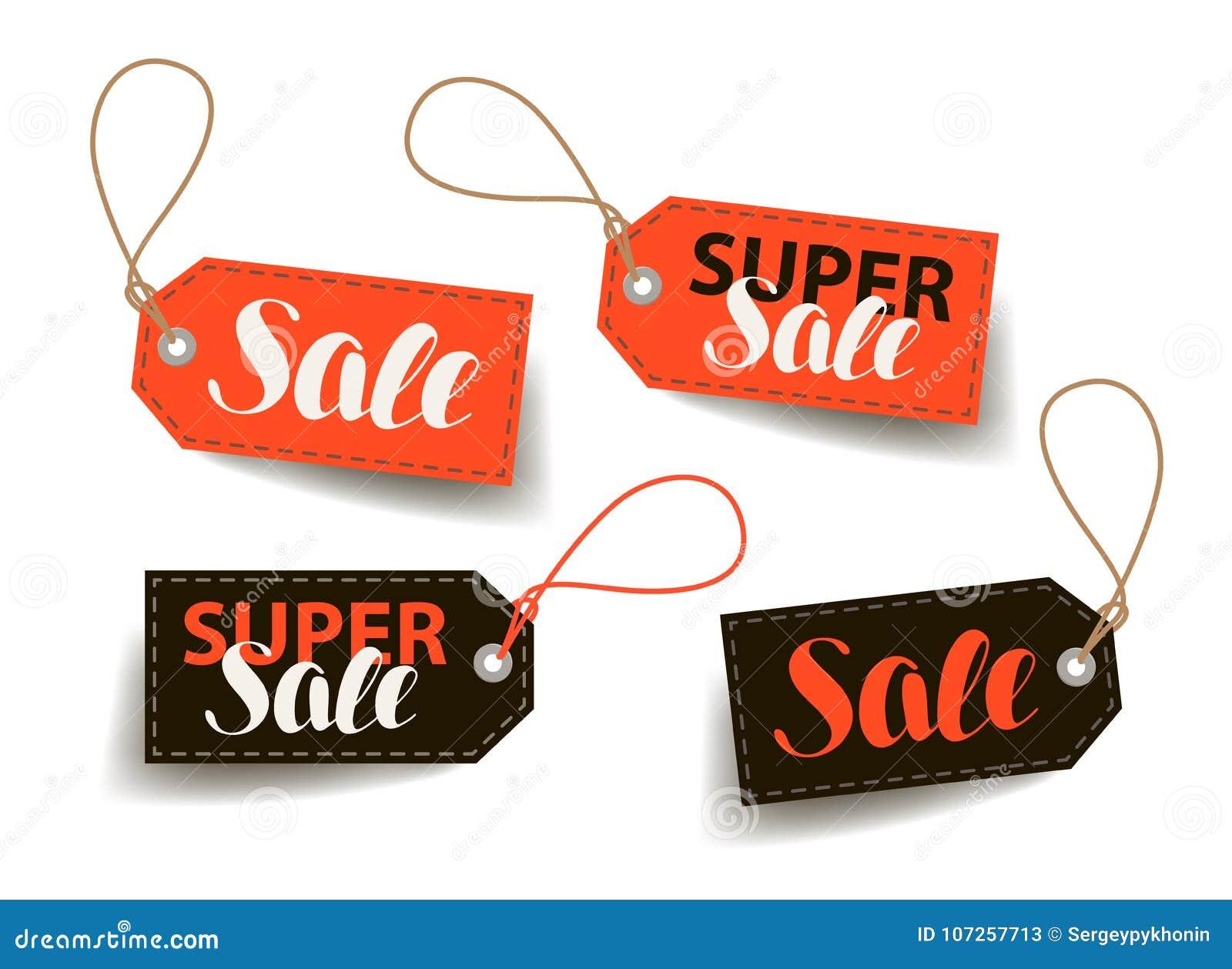 Verkoop, prijskaartje Het winkelen, handel, goedkoop etiket Van letters voorziende Vectorillustratie
