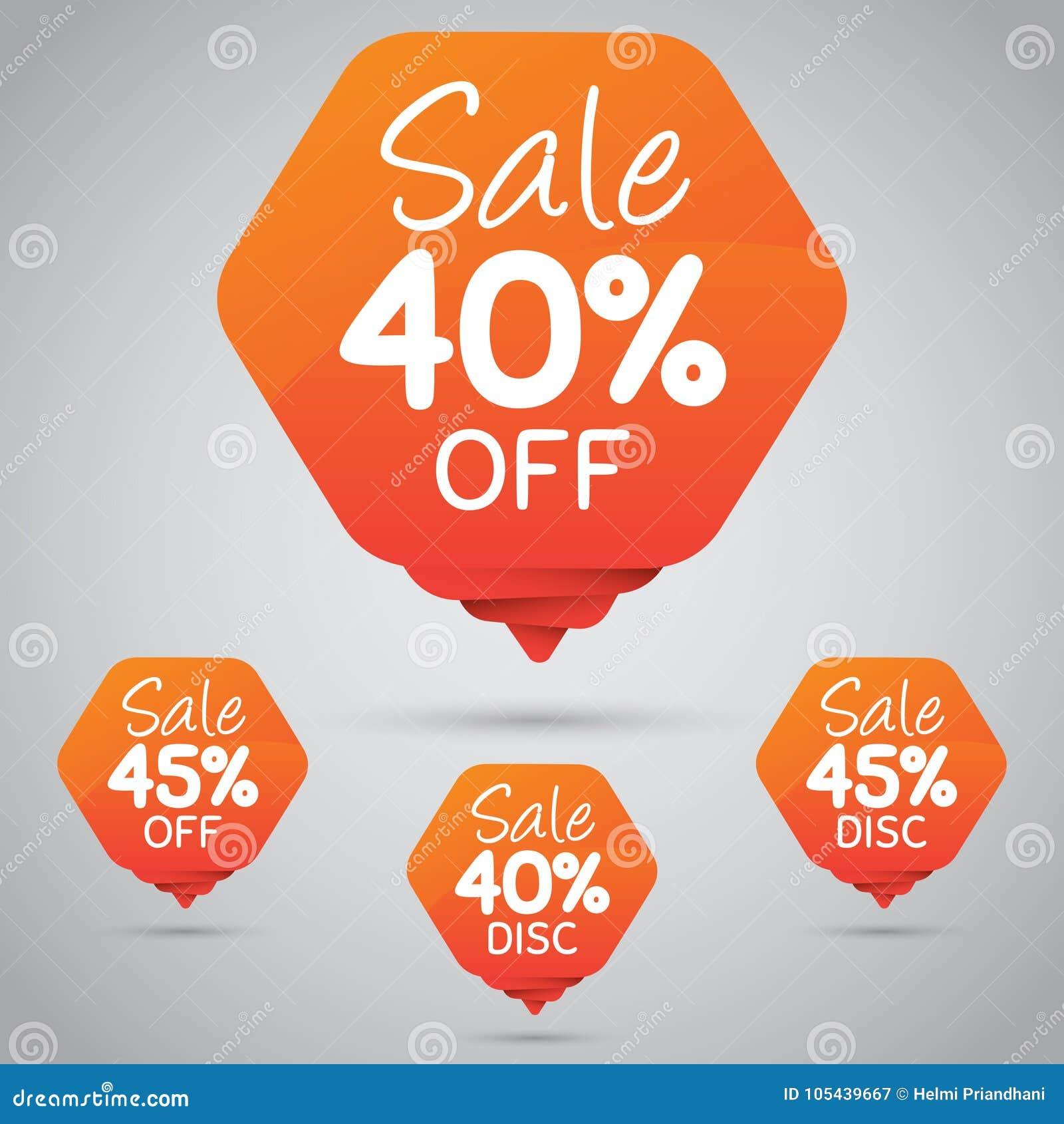 40  45  Verkoop, Schijf, weg op Vrolijke Oranje Markering voor Marketing Kleinhandelselementenontwerp