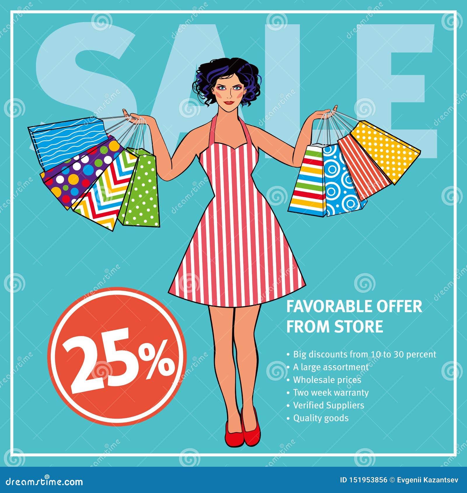 Verkooplay-out Mooi meisje in retro kledingsholding het winkelen zakken tegen de achtergrond van muntkleur