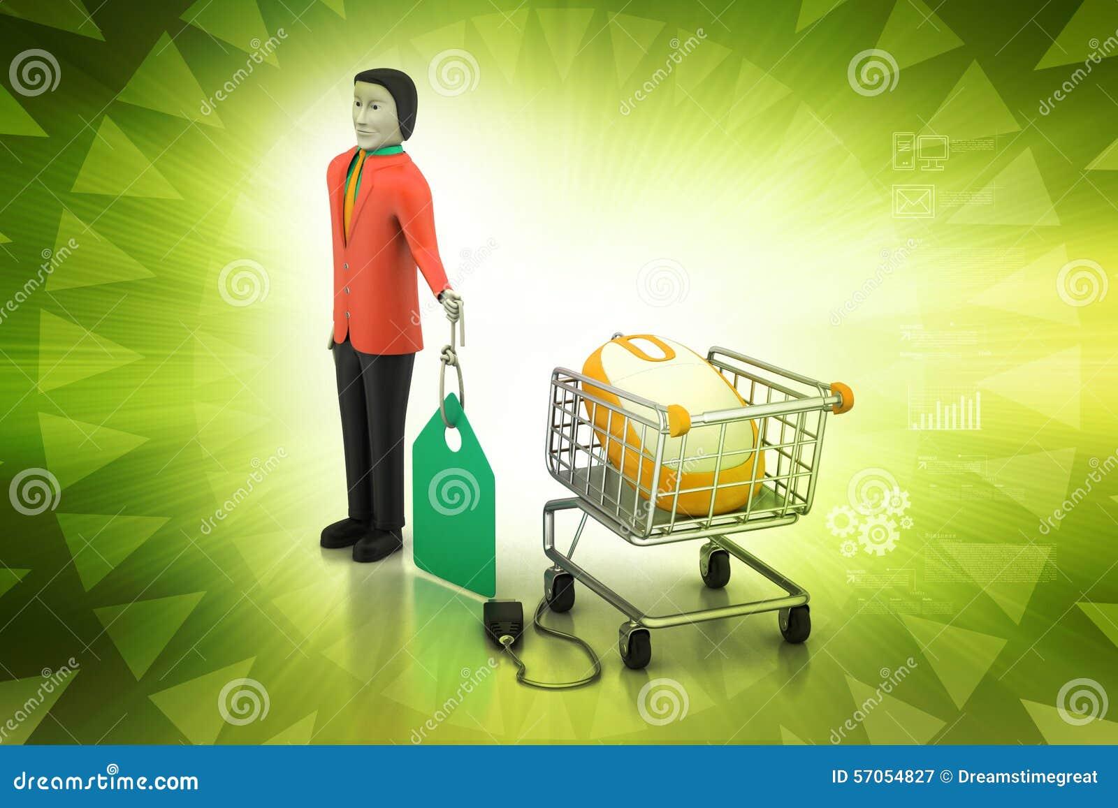 Verkoopmens met prijskaartje en het winkelen karretje