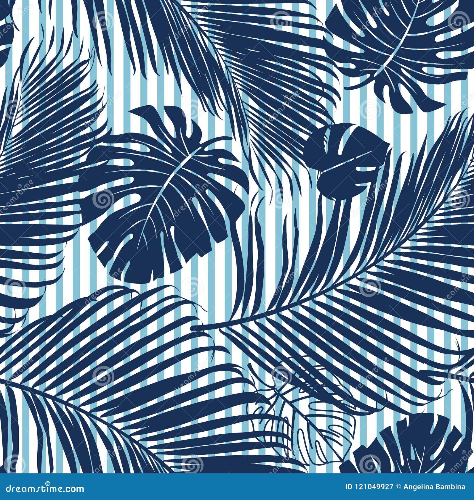 Verlaat het de zomer Marineblauwe tropische bos heldere stemming op het patroon fashoin stof, behang en kaart van de hemel blauwe