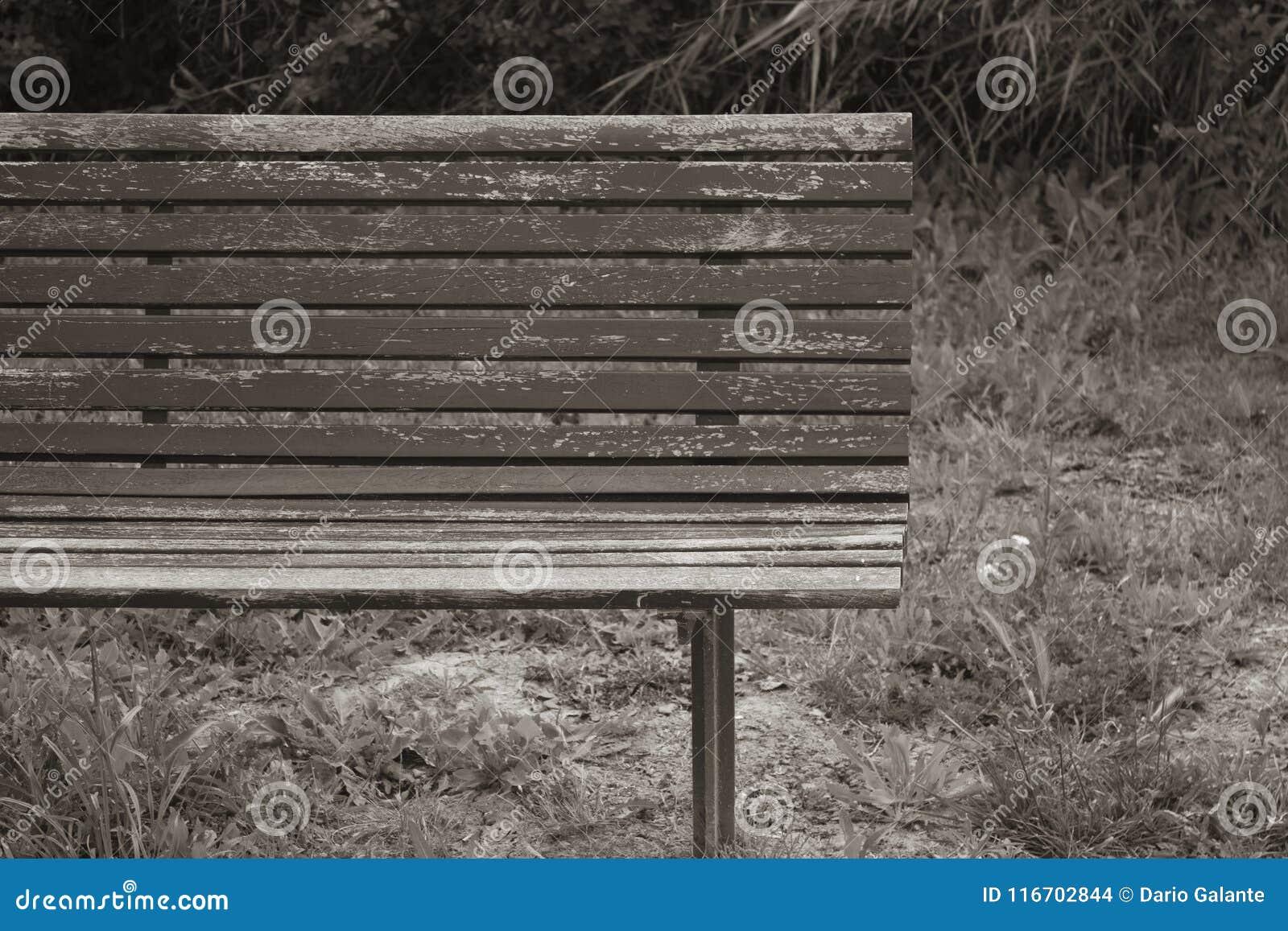 Verlaten en geruïneerde houten bank