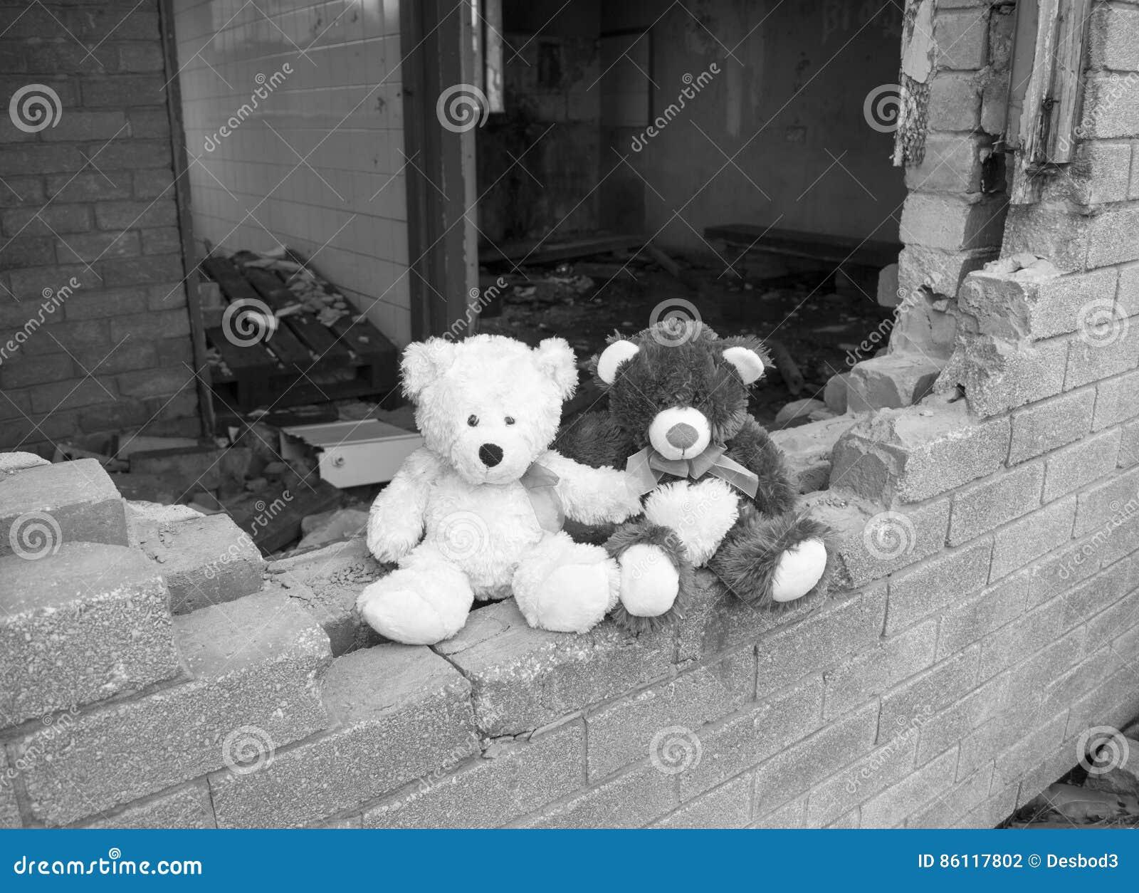Verlaten Verlaten de Bouwmuur van Teddy Bears Sitting On Smashed in Zwart & Wit