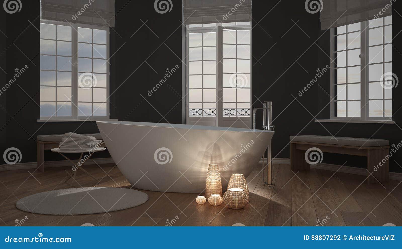 Verlichte kaarsen binnen een minimalistische badkamers kuuroord