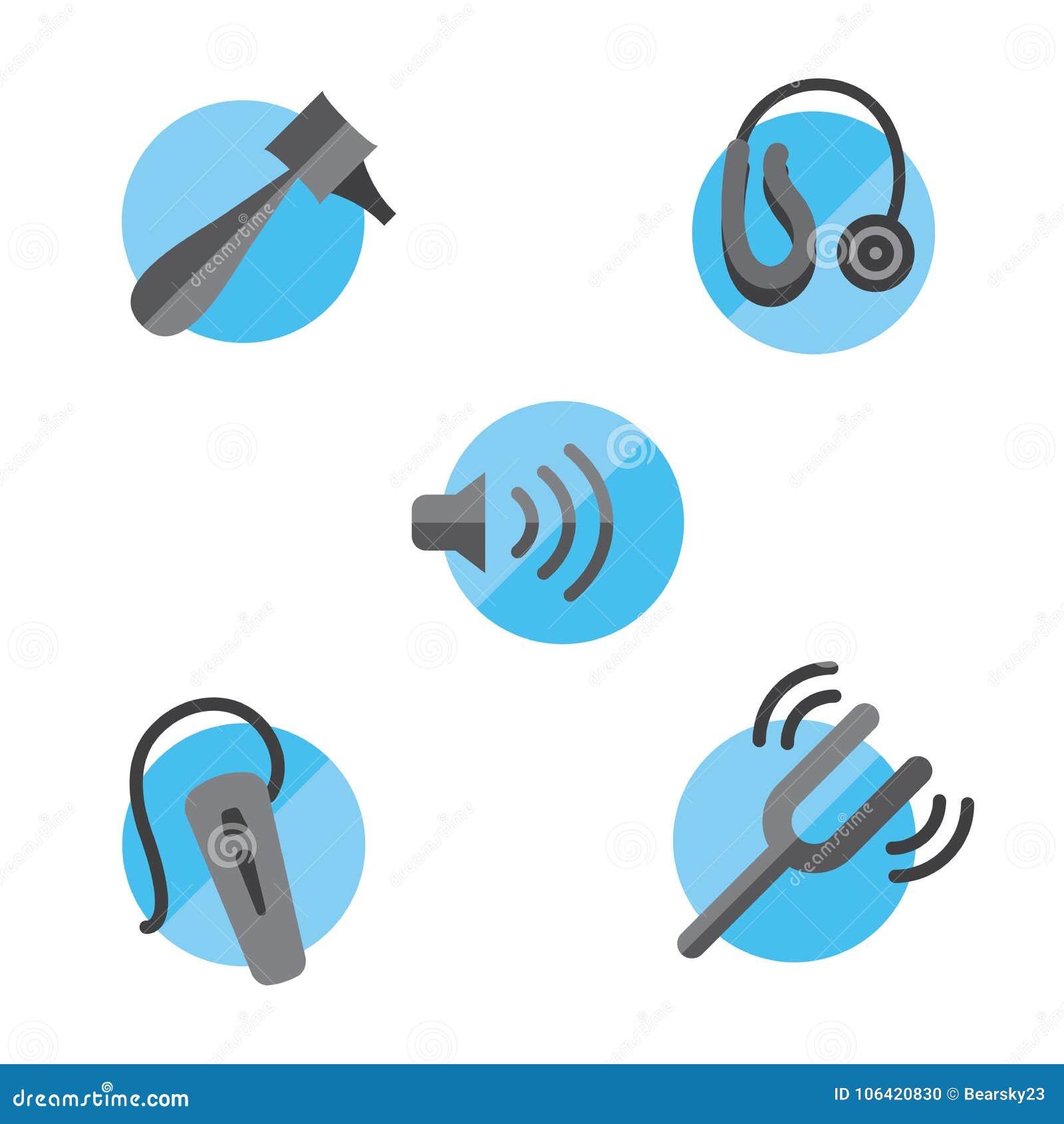 Verlies van het gehoor stevig die pictogram met Oorspiegel, stemvork en heari wordt geplaatst
