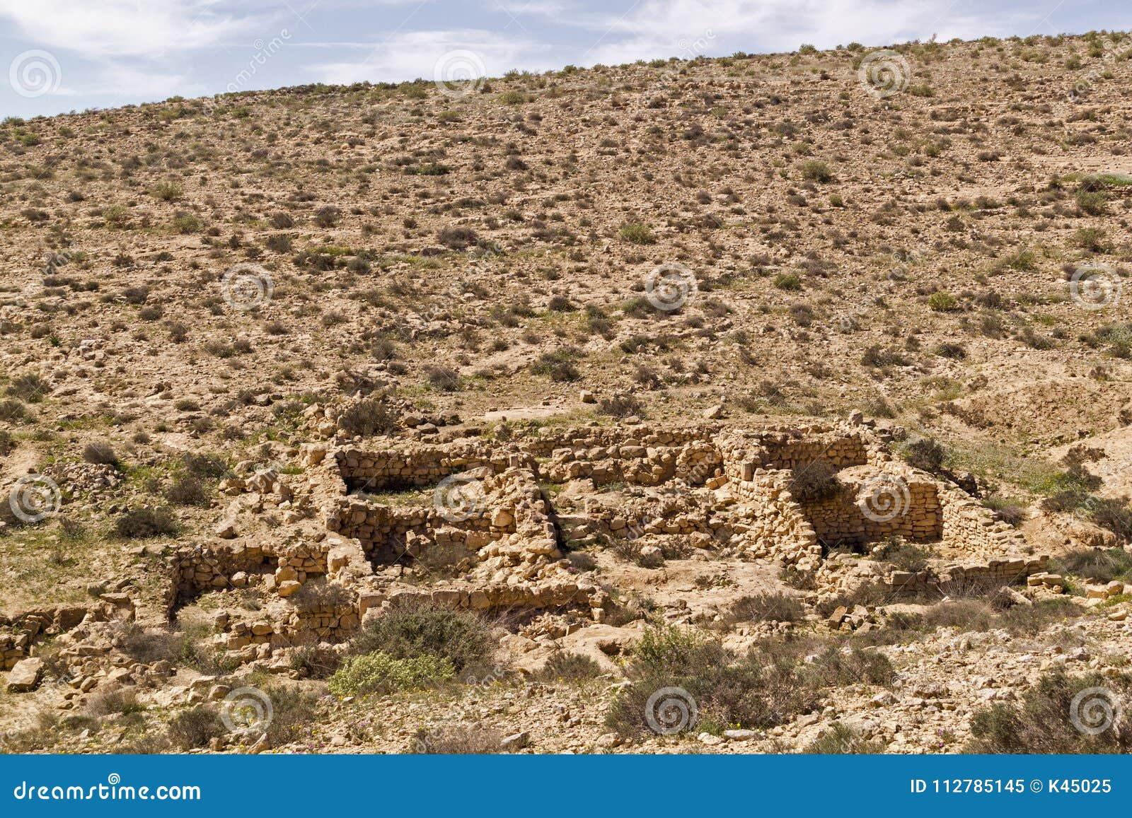 ` Verloor Stads` ruïnes in Negev-Woestijn, Israël