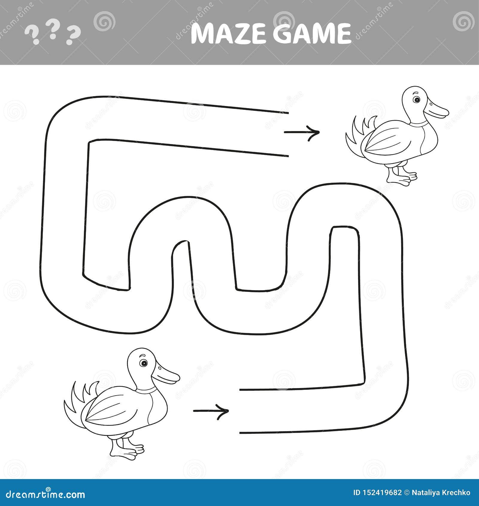 Verloren eendje Hulpeend om een weg te vinden Labyrint voor jonge geitjes Vector illustratie