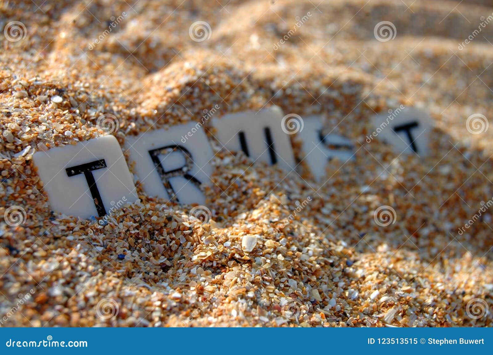 Verloren vertrouwen in zand
