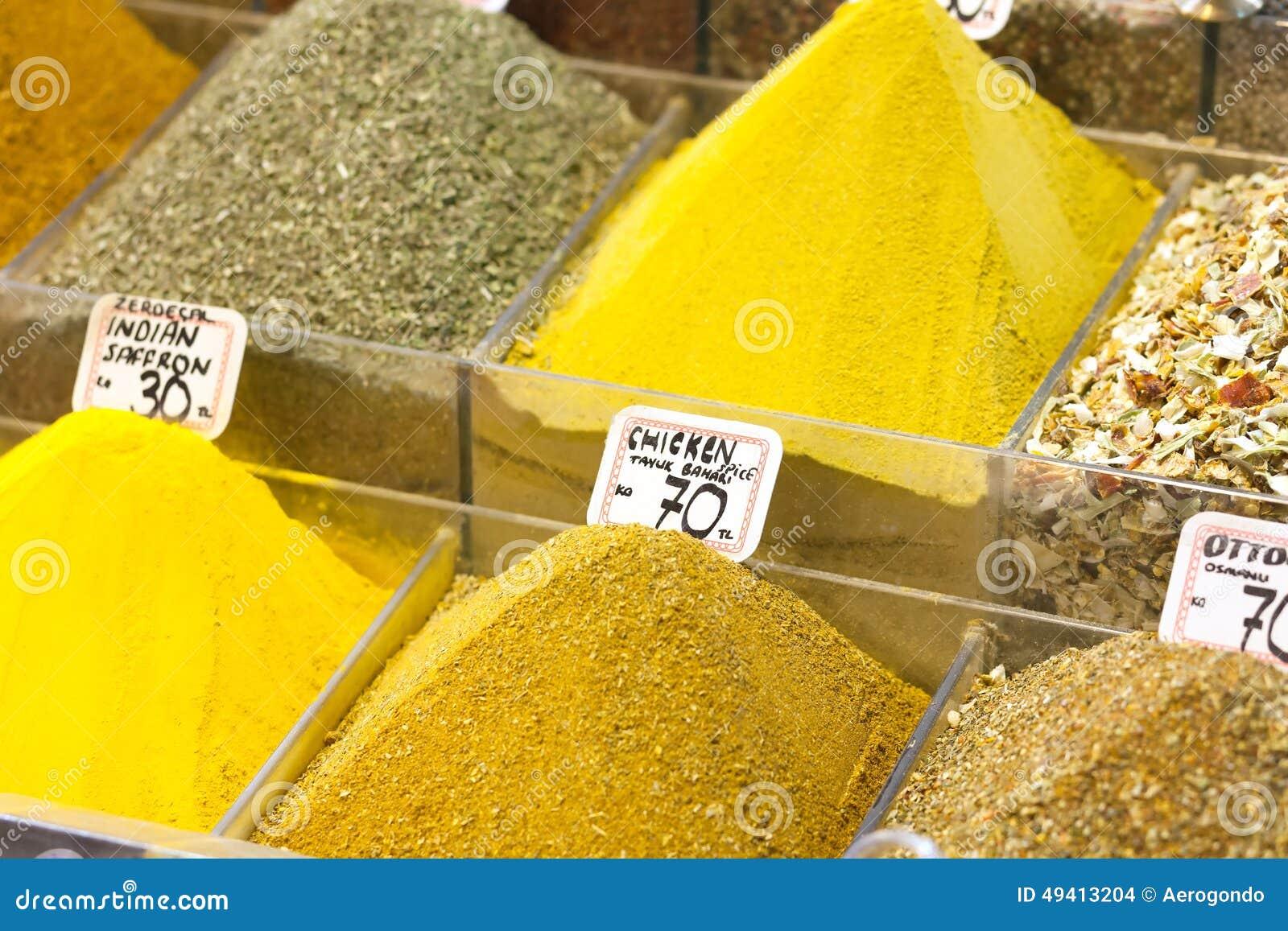 Download Vermarkten Sie Stand Mit Bunten Gewürzen Und Trockenem Gemüse Stockfoto - Bild von orientalisch, asien: 49413204