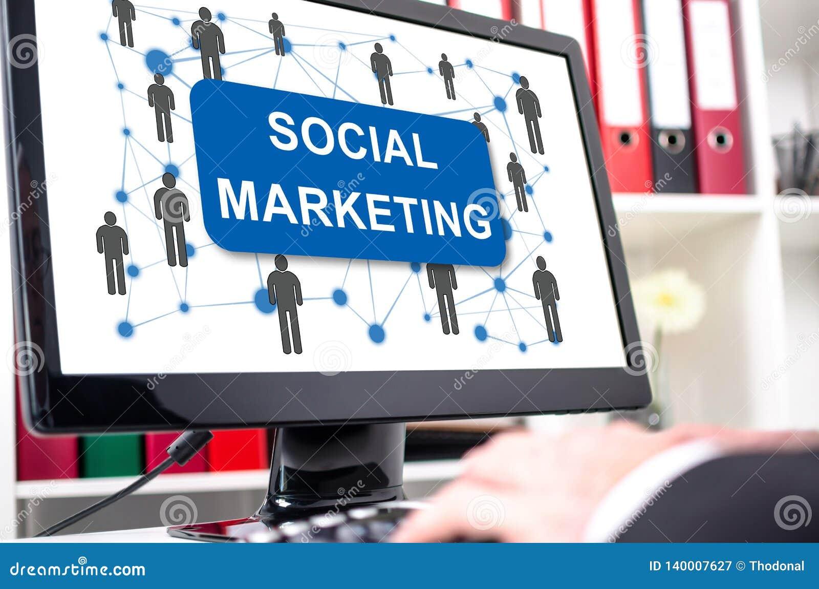 Vermarktendes Sozialkonzept auf einem Bildschirm