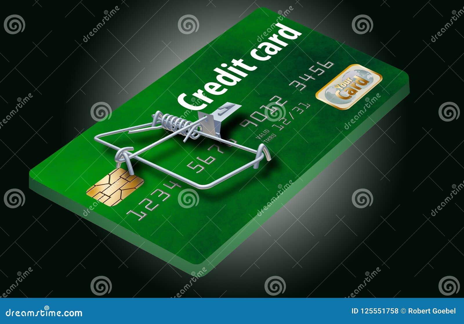 Vermeiden Sie Kreditkartefallen, wie diese, die wie eine Kreditkarte aussieht, die zu eine Mausefalle gemacht wird