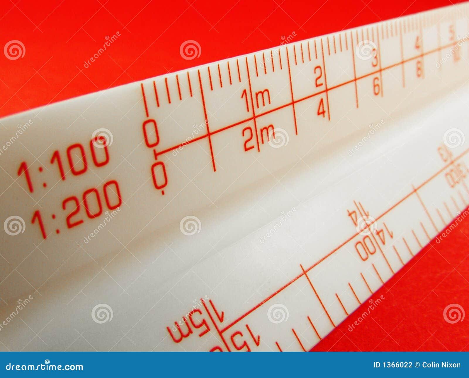Vermelho da régua da escala