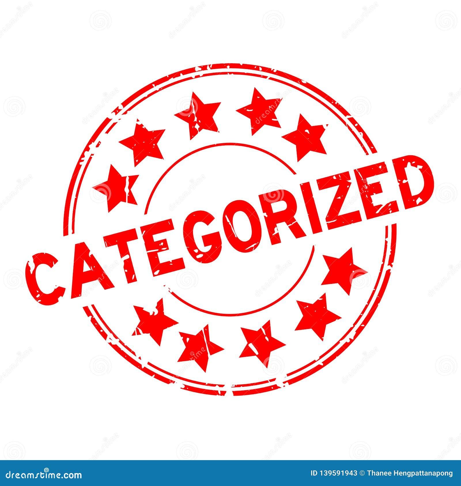Vermelho do Grunge categorizado com carimbo de borracha redondo do ícone da estrela no fundo branco