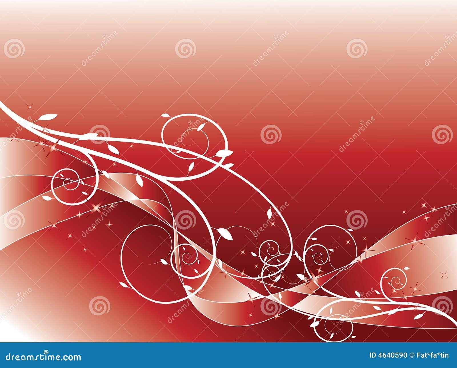 Vermelho floral abstrato do glitter do redemoinho