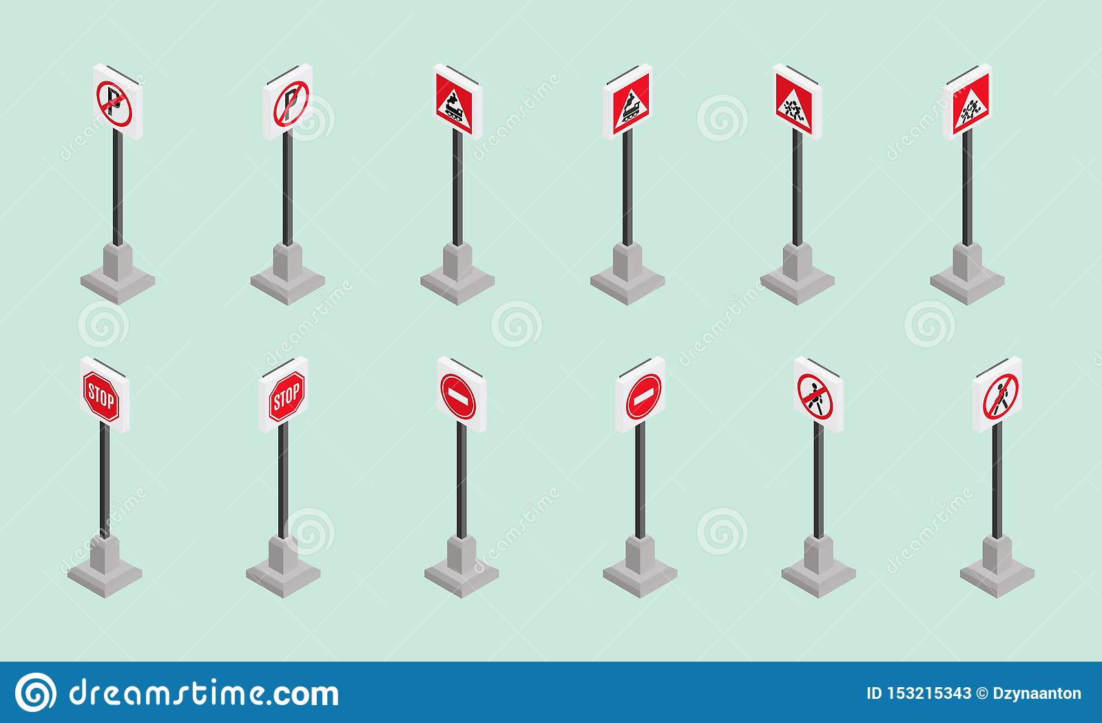 Vermelho isométrico perigoso da notícia do estilo dos sinais de estrada