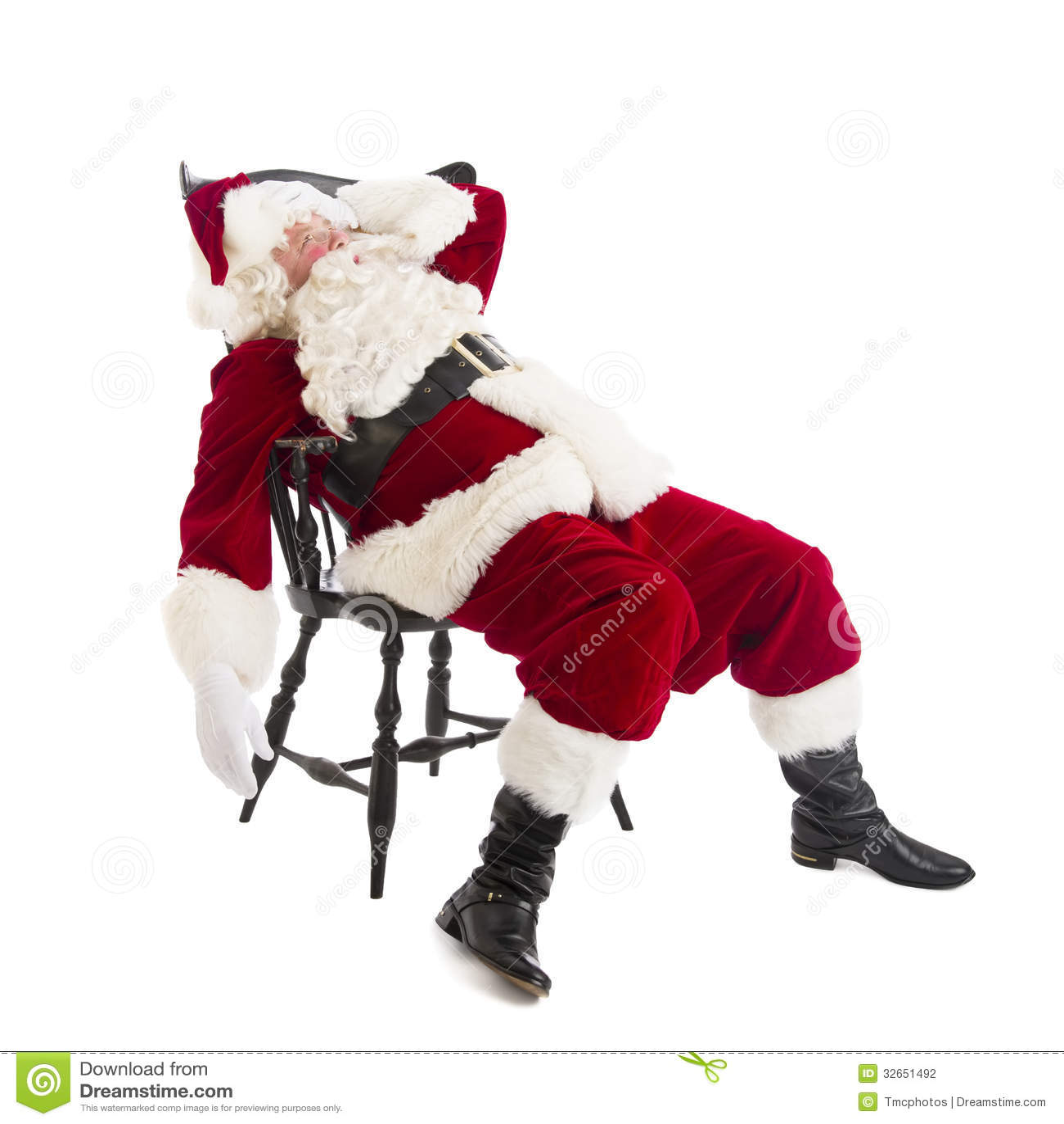 Vermoeide Santa Claus Sitting On Chair