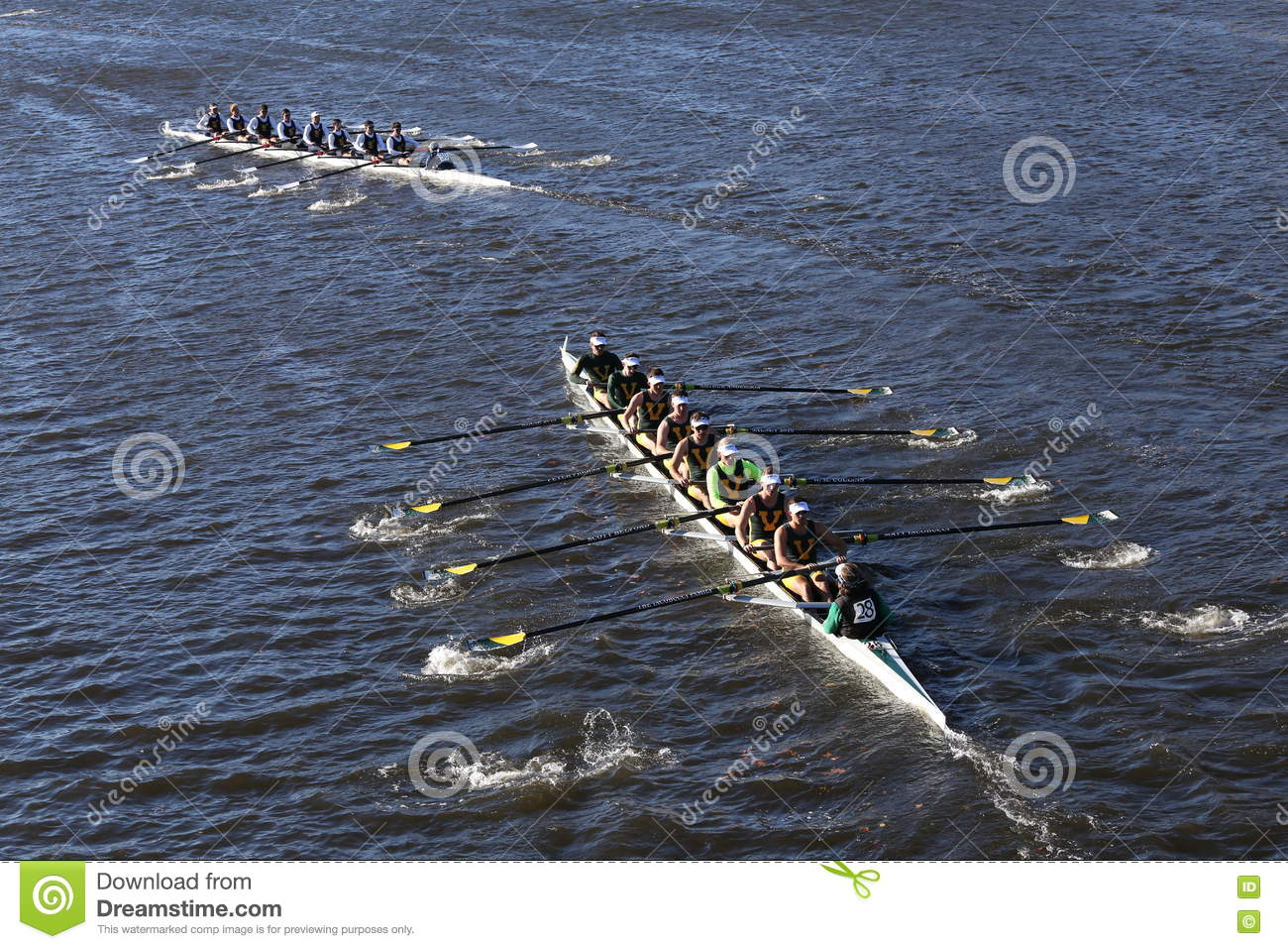 BOSTON - OCTOBER 22, 2016: vermont bottom UC San Diego top races in the  Head of Charles Regatta Men`s College Eights