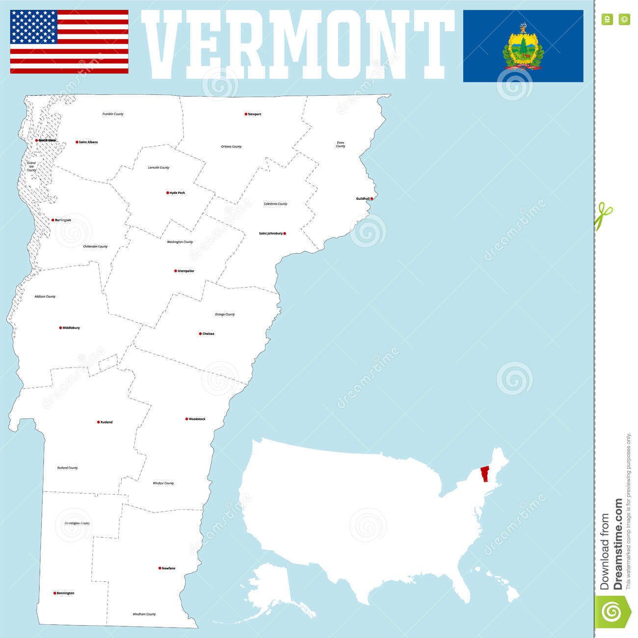 Vermont county map stock vector. Illustration of islands ...