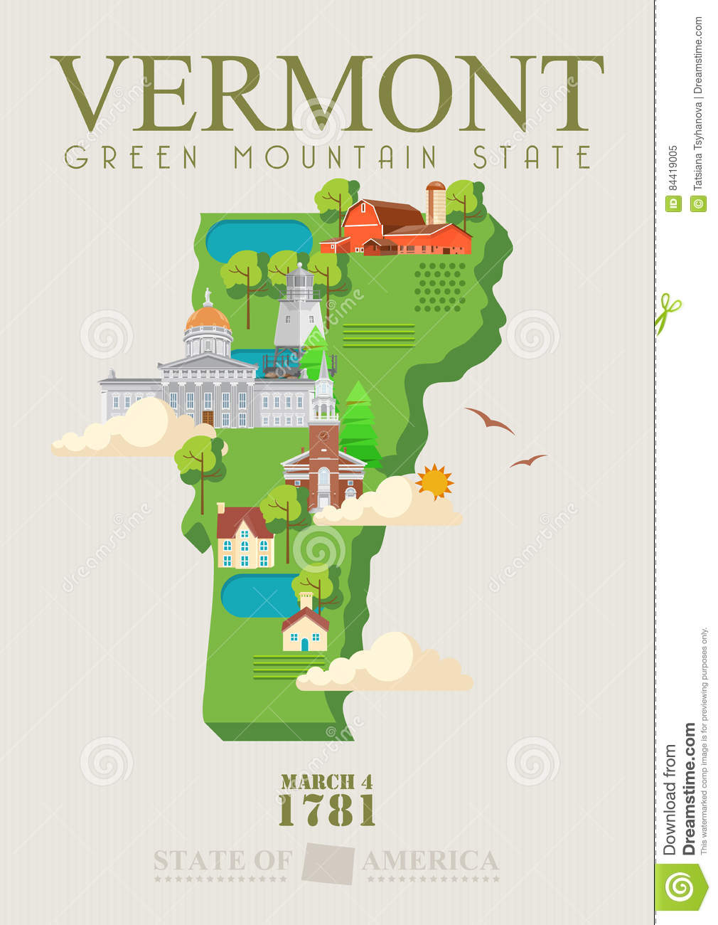 Map Of America Vermont.Vermont Vector American Poster Usa Travel Illustration United