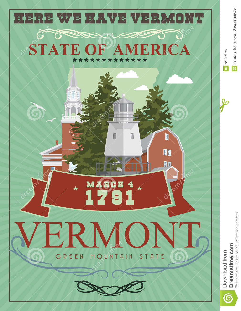 Vermont vector american poster. USA travel illustration. United States of America colorful greeting card