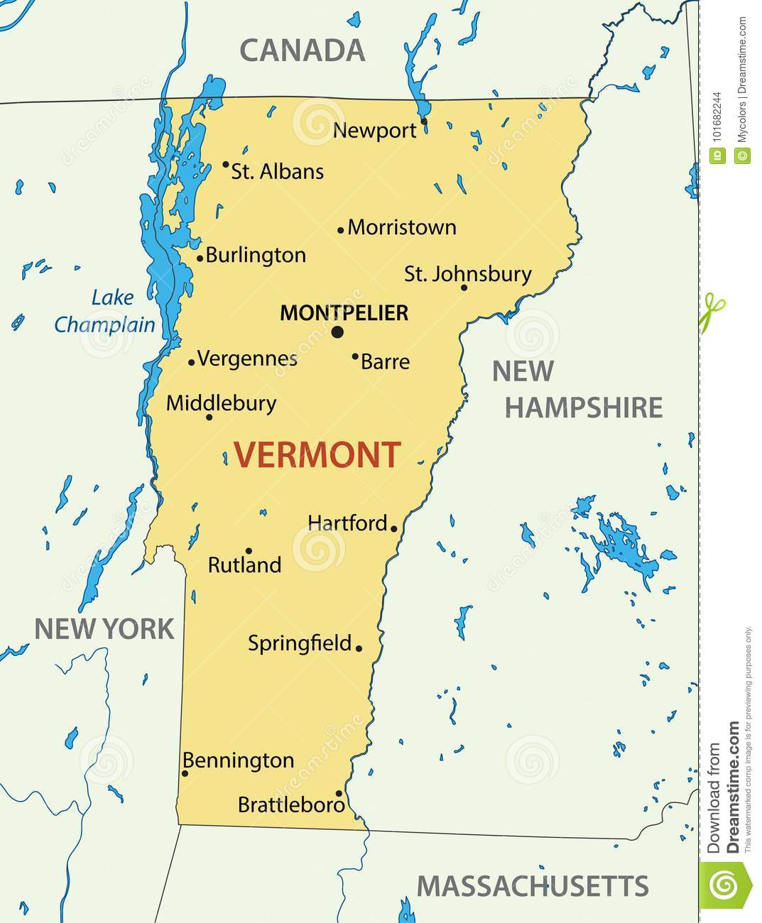 Vermont Vector Map Of Us State Stock Vector Illustration Of