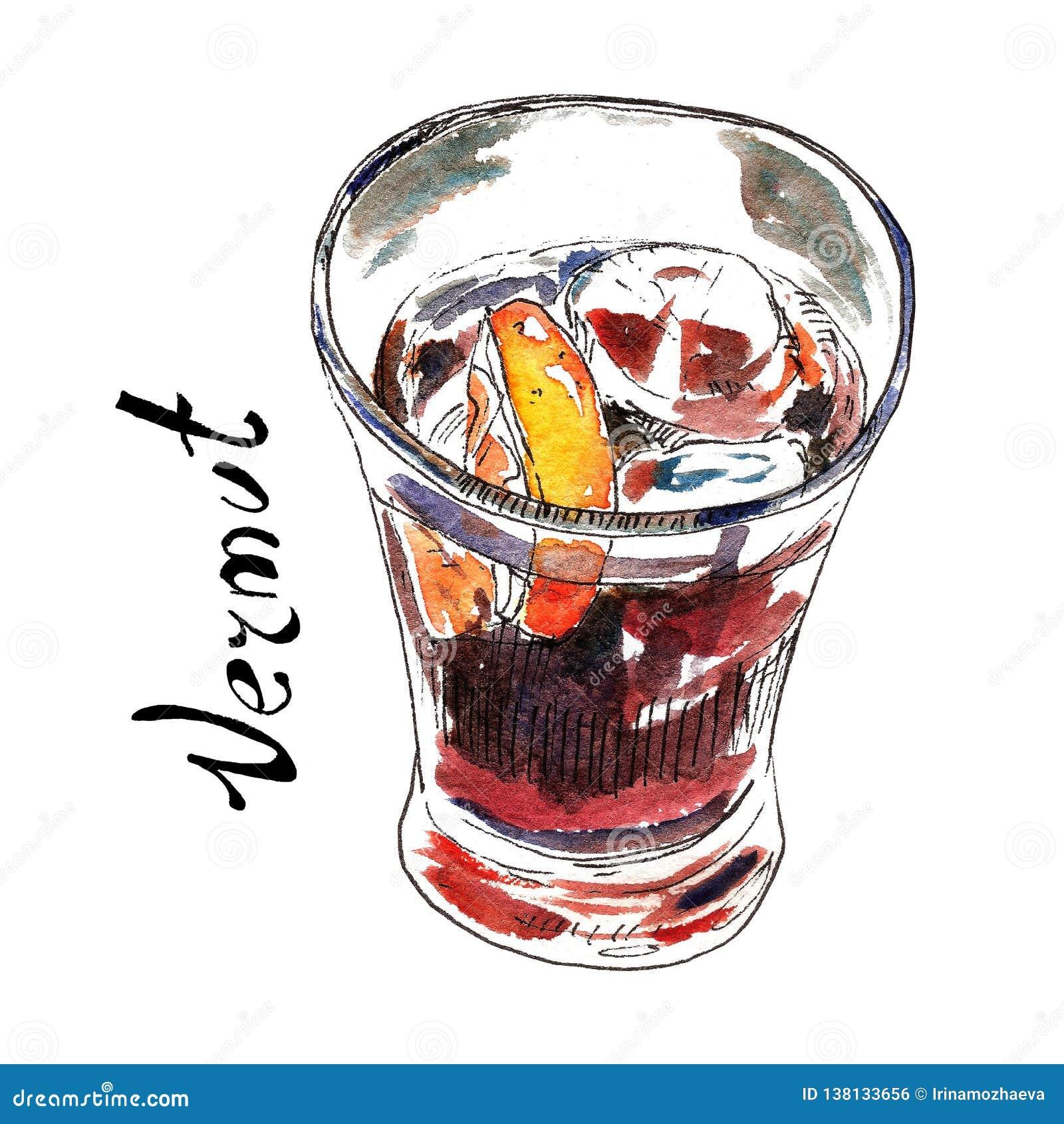 Vermut nell illustrazione di vetro dell acquerello Bevanda spagnola tradizionale dell aperitivo Isolato su bianco