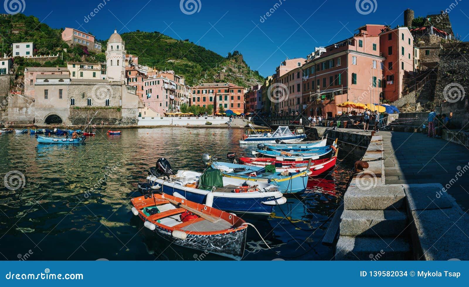 Motor Village La >> Vernazza Italy June 20 2016 Motor Boats Moored In