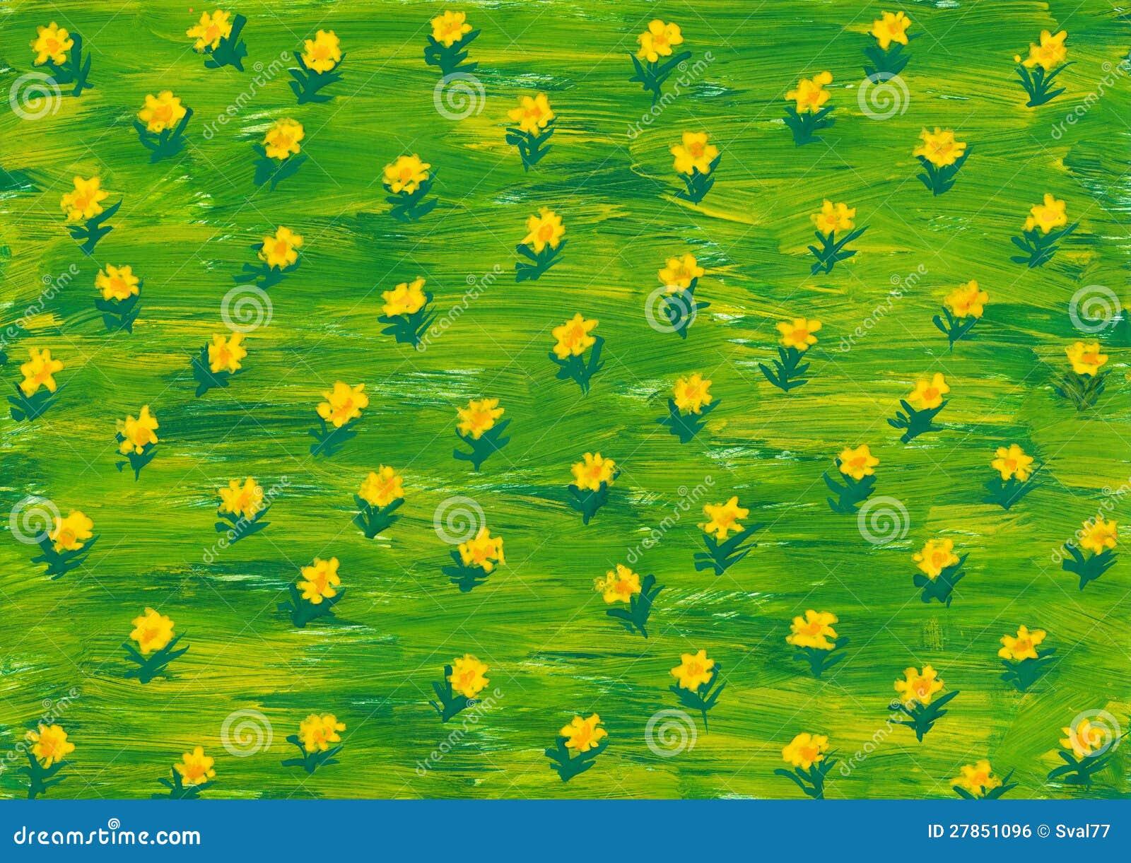 Vernice dell 39 acquerello fiori di estate sul prato verde for Prato verde