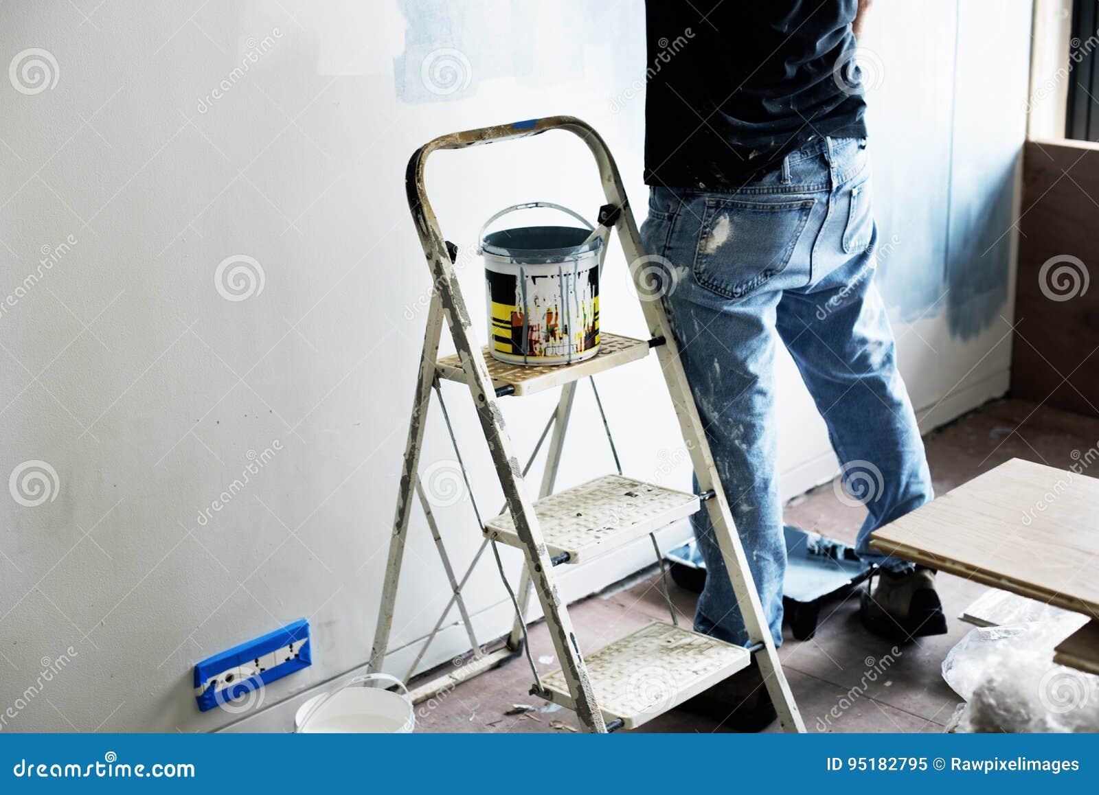 Vernice per interni di rinnovamento interno della stanza immagine stock immagine 95182795 - Vernice per muro interno ...