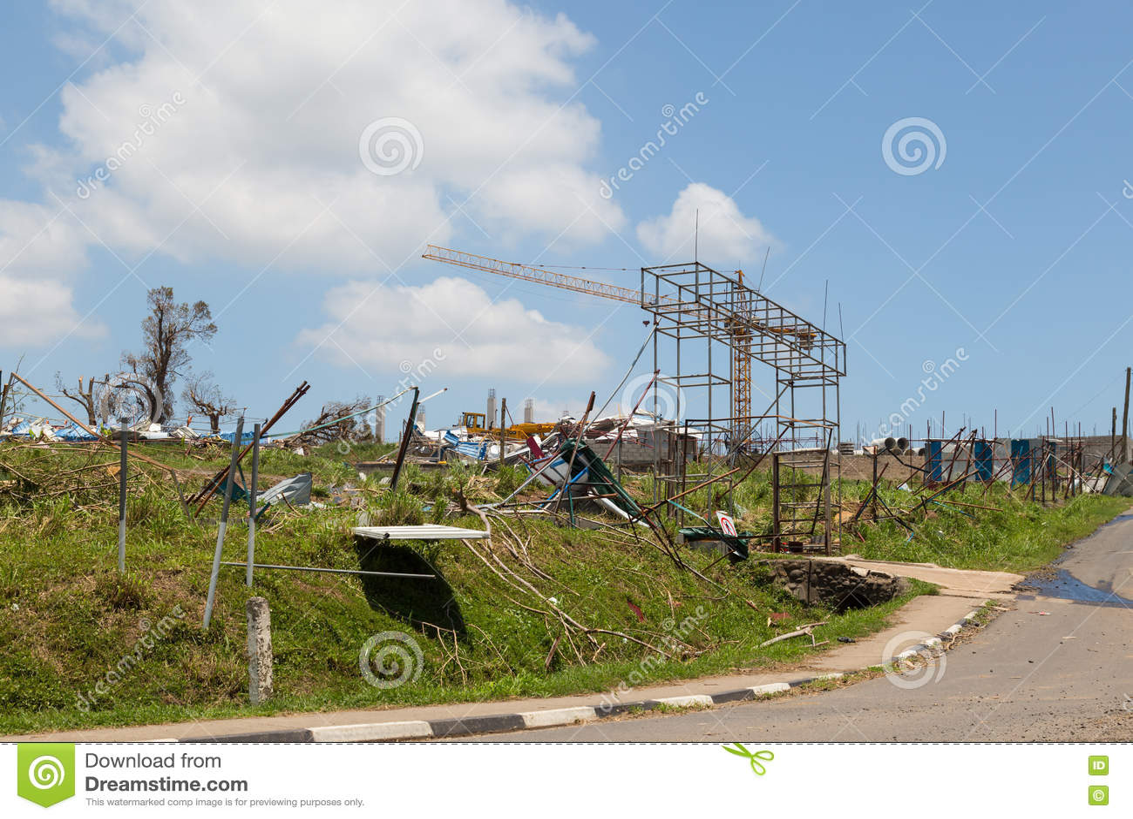 Vernietiging door tropische cycloon Winston wordt veroorzaakt die fiji