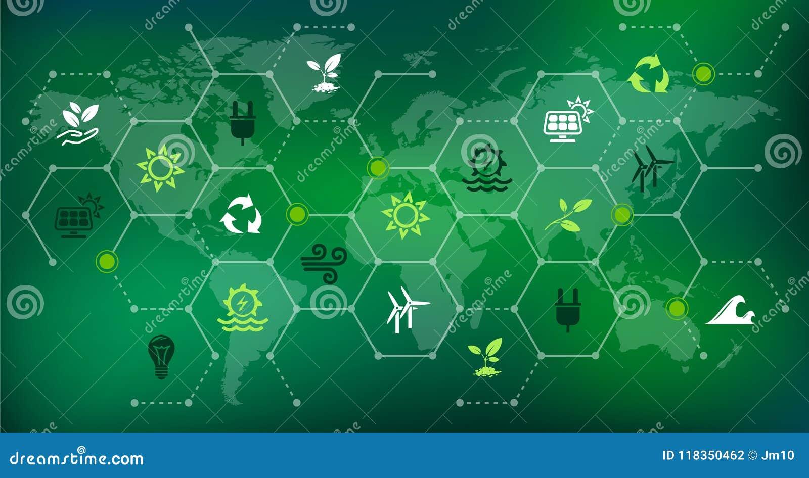 Vernieuwbare & duurzame energiebronnen - water, zonne, wind, biomassaenergie: illustratie