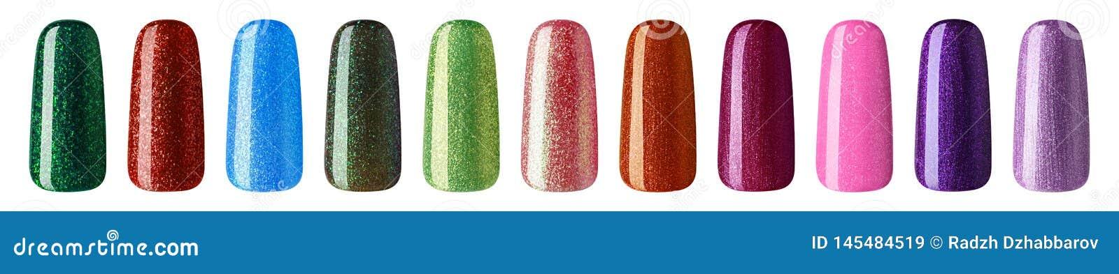 Verniz para as unhas com brilho na cor pastel diferente da forma A laca colorida do prego nas pontas isolou o fundo branco