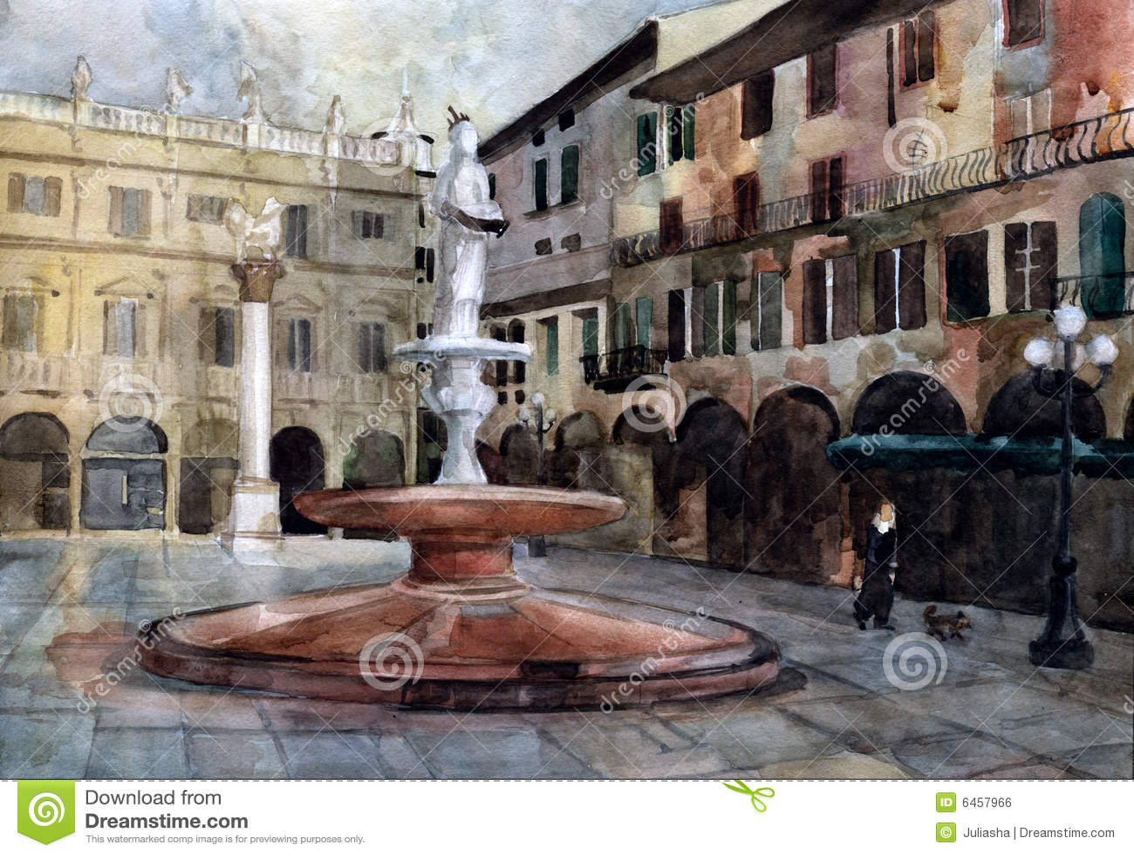 Verona akwarela kwadratowa