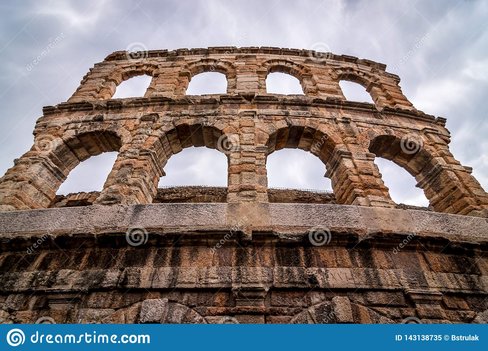 Verona, Italy. The Verona Arena is a Roman amphitheater in the city center, built in the first century
