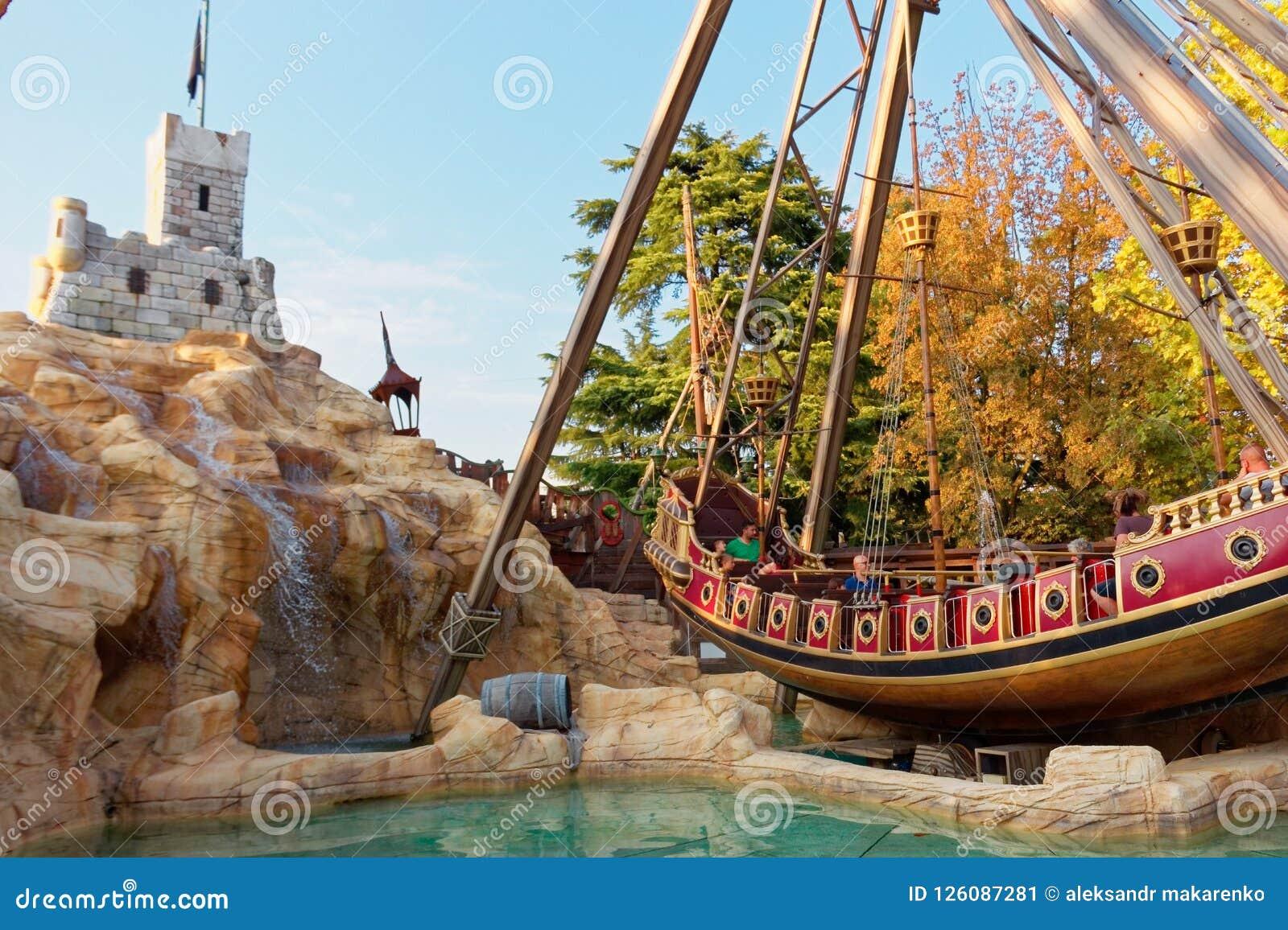 Verona, Italy August 18, 2018: Leoland Amusement Park  Pirate